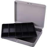 """Sparco All-Steel Locking Cash Box with Tray - 5 Bill - 5 Coin - Steel - Gray - 2"""" (50.80 mm) Height x 10.50"""" (266.70 mm) Width x 15"""" (381 mm) Depth"""