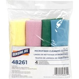 "Genuine Joe Color-coded Microfiber Cleaning Cloths - 16"" x 16"" - Assorted - MicroFiber - Lint-free - 4 / Pack"