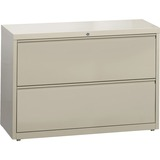 """Lorell Lateral File - 42"""" x 18.6"""" x 28.1"""" - 2 x Drawer(s) for File - Legal, Letter, A4 - Lateral - Rust Proof, Leveling Glide, Ball-bearing Suspension, Interlocking, Label Holder - Putty - Baked Enamel - Recycled"""