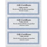 """First Base Regent Gift Certificate - 24 lb - 8.50"""" x 3.50"""" - Laser, Inkjet Compatible - Blue, Silver75 / Pack"""