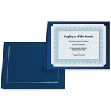 """First Base 83434 Certificate Holder with Gold Folio - Letter, A4 - 8"""" x 10"""", 8 1/2"""" x 11"""", 8 17/64"""" x 11 11/16"""" Sheet Size - Navy Blue - 5 / Pack"""