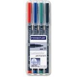 Staedtler Lumocolor Permanent Universal Pen - Medium Pen Point - 1 mm Pen Point Size - Refillable - Red, Blue, Green, Black - Black Polypropylene Barrel