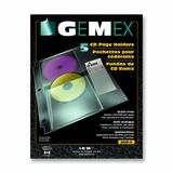 """Gemex Heavyweight CD/DVD Page Holder - 4 x Pockets Capacity - For Letter 8 1/2"""" x 11"""" Sheet - Ring Binder - Rectangular - Clear - Vinyl - 5 / Pack"""