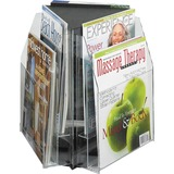 """Safco Reveal 2-tier Tabletop Magazine Display - 6 Pocket(s) - 6 Compartment(s) - Compartment Size 7.25"""" (184.15 mm) x 9"""" (228.60 mm) x 1"""" (25.40 mm) - 14"""" Height x 15"""" Width x 15"""" Depth - Desktop - Clear - Acrylic - 1 / Each"""