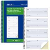 "Blueline Bilingual Receipt Book - 200 Sheet(s) - Spiral Bound - 2 Part - Carbon Copy - 6 3/4"" x 11"" Sheet Size - Blue Cover - 1 Each"