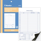 """Blueline Bilingual Time Sheet - 100 Sheet(s) - 2 Part - Carbon Copy - 5 3/8"""" x 8"""" Sheet Size - Blue Cover - Recycled - 1 Each"""