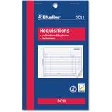 """Blueline Requisition Form - 50 Sheet(s) - 2 Part - Carbonless Copy - 4 1/4"""" x 7"""" Sheet Size - Blue Cover - 1 Each"""