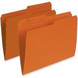 "Pendaflex Single Top Vertical Colored File Folder - Letter - 8 1/2"" x 11"" Sheet Size - 1/2 Tab Cut - 10.5 pt. Folder Thickness - Orange - Recycled - 100 / Box"