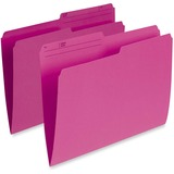 """Pendaflex Single Top Vertical Colored File Folder - Letter - 8 1/2"""" x 11"""" Sheet Size - 1/2 Tab Cut - 10.5 pt. Folder Thickness - Pink - Recycled - 100 / Box"""