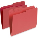 """Pendaflex Single Top Vertical Colored File Folder - Letter - 8 1/2"""" x 11"""" Sheet Size - 1/2 Tab Cut - 10.5 pt. Folder Thickness - Red - Recycled - 100 / Box"""