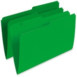 """Pendaflex Single Top Vertical Colored File Folder - Legal - 8 1/2"""" x 14"""" Sheet Size - 1/2 Tab Cut - 10.5 pt. Folder Thickness - Green - Recycled - 100 / Box"""