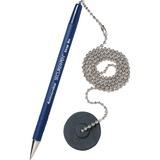 MMF Secure-A-Pen Counter Pen - Medium Pen Point - Refillable - Blue - Blue Barrel - 1 / Each