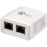 Dual Cat5e RJ45 Wall Jack White With Keystone Jacks / Mfr. No.: Wallbox2wh