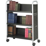 "Safco Scoot Single Sided Book Cart - 3 Shelf - 4 Casters - 3"" (76.20 mm) Caster Size - Steel - 33"" Width x 14.3"" Depth x 44.3"" Height - Black, Silver"