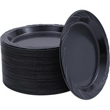 Genuine Joe Round Plastic Black Plates