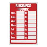 "U.S. Stamp & Sign Business Hours Sign - 1 Each - Business Hour Print/Message - 12"" (304.80 mm) Width x 8"" (203.20 mm) Height - Rectangular Shape - White Print/Message Color - Plastic - White, Red"