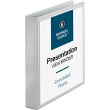 """Business Source Round Ring Standard View Binders - 1 1/2"""" Binder Capacity - Letter - 8 1/2"""" x 11"""" Sheet Size - 350 Sheet Capacity - 3 x Ring Fastener(s) - 2 Internal Pocket(s) - White - 226.8 g - Recycled - 1 / Each"""
