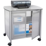 "Safco Impromptu Deluxe Machine Stand with Doors - 45.36 kg Load Capacity - 2 x Shelf(ves) - 30.75"" (781.05 mm) Height x 34.75"" (882.65 mm) Width x 25.50"" (647.70 mm) Depth - Laminate, Powder Coated - Steel, Polycarbonate - Gray"