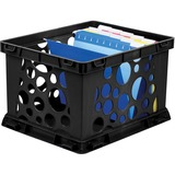 """Storex Lightweight Portable File Crate - External Dimensions: 14"""" Width x 24.3"""" Depth x 16.8""""Height - Media Size Supported: Letter, Legal - Light Duty - Stackable - Plastic - Black - For File - Recycled - 1 Each"""
