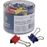 "Business Source Colored Fold-back Binder Clips - Small - 0.75"" (19.05 mm) Width - 0.4"" Size Capacity - 36 / Pack - Assorted - Steel"