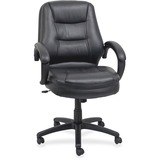 "Lorell Westlake Mid Back Managerial Chair - Leather Black Seat - Polyurethane Black Frame - Black - 26.5"" Width x 28.5"" Depth x 43"" Height"