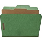 """Nature Saver 1-Divider Recycled Classification Folders - Letter - 8 1/2"""" x 11"""" Sheet Size - 2"""" Fastener Capacity for Folder - Top Tab Location - 1 Divider(s) - 25 pt. Folder Thickness - Green - Recycled - 10 / Box"""