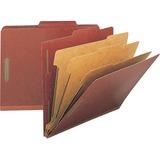 "Nature Saver Kraft Divider Recycled Classification Folders - Letter - 8 1/2"" x 11"" Sheet Size - 8 Fastener(s) - 2"" Fastener Capacity for Folder, 1"" Fastener Capacity for Divider - 2/5 Tab Cut - 3 Divider(s) - 25 pt. Folder Thickness - Pressboard - Red - R"
