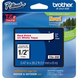 "Brother TZe232 1/2"" Laminated Adhesive Tape, Red on White"