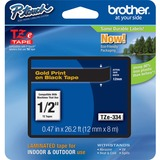 "Brother TZe334 1/2"" Laminated Adhesive Tape, Gold on Black"