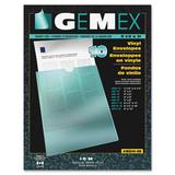 """Gemex Vinyl Envelopes - 3"""" x 5"""" Sheet Size - Vinyl - Clear - 10 / Pack"""