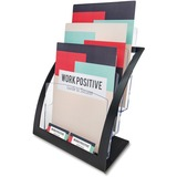 "Deflecto Contemporary Literature Holder - 3 Compartment(s) - 3 Tier(s) - 13.3"" Height x 11.2"" Width x 6.9"" Depth - Desktop, Counter - Black, Clear Frame, Front - Plastic - 1Each"