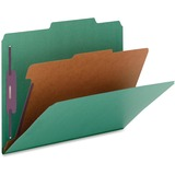 """Nature Saver 1-Divider Color Classification Folders - Legal - 8 1/2"""" x 14"""" Sheet Size - 2"""" Fastener Capacity for Folder, 2"""" Fastener Capacity, 2"""" Fastener Capacity - 2/5 Tab Cut - Right of Center Tab Location - 1 Divider(s) - 25 pt. Folder Thickness - Gre"""