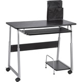 "Lorell Mobile Computer Desk - Rectangle Top - 41.5"" Table Top Width x 20.5"" Table Top Depth x 0.7"" Table Top Thickness - 29"" Height - Assembly Required - Black, Laminated, Silver"