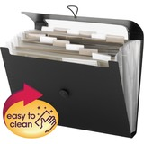 """Smead 12-Pocket Step Index Organizer - Letter - 8 1/2"""" x 11"""" Sheet Size - 600 Sheet Capacity - 12 Pocket(s) - Assorted Position Tab Location - 12 Divider(s) - Poly - Black - 1 Each"""