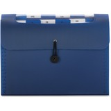 """Smead 12-Pocket Step Index Organizer - Letter - 8 1/2"""" x 11"""" Sheet Size - 600 Sheet Capacity - 12 Pocket(s) - Assorted Position Tab Location - 12 Divider(s) - Poly - Navy - 1 Each"""