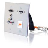 C2G RapidRun Faceplate - 2-gang - Aluminum - 1 x HDMI Port(s) - 1 x Mini-phone Port(s) - 3 x RCA Port(s) - 1 x VGA Port(s)