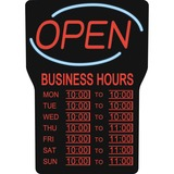 "Royal Sovereign Business Hours Open Sign - 1 Each - Open, Business Hour Print/Message - 16"" (406.40 mm) Width x 24"" (609.60 mm) Height - Rectangular Shape - Blue"