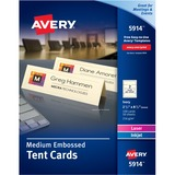 """Avery® Medium Tent Cards, Embossed Ivory, Uncoated, Two-Sided Printing, 2-1/2"""" x 8-1/2"""", 100 Cards (5914) - 2 1/2"""" x 8 1/2"""" - Embossed - 100 / Pack - Ivory"""