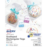 "Avery® Printable Tags, With Strings, Scallop Edge, 2"" x 1-1/4"", 180 Tags (22848) - 2"" (50.80 mm) Length x 1.25"" (31.75 mm) Width - Rectangular - String Fastener - 180 / Pack - Paper - White"