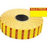 "Monarch Yellow Sale Price Labels - Permanent Adhesive - ""Sale, Price"" - 25/32"" Width x 7/16"" Length - Rectangle - Bright Yellow - 3 / Roll - 1 Pack"