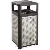 Safco Evos Series 15-gal Steel Waste Receptacle - 56.78 L Capacity - Plastic, Steel - Black, Gray