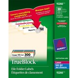 "Avery® TrueBlock File Folder Label - Permanent Adhesive - 3 7/16"" Width x 21/32"" Length - Laser, Inkjet - Assorted - 30 / Sheet - 300 / Pack"