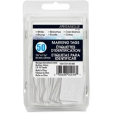"Merangue 50 Pack White Strung Tags - 1.09"" (27.60 mm) Length x 1.75"" (44.40 mm) Width - Rectangular - String Fastener - 50 / Pack - White"
