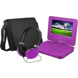 "Ematic EPD707 Portable DVD Player - 7"" Display - 480 x 234 - Purple - DVD-R, CD-R - JPEG - DVD Video, Video CD, MPEG-4 - CD-DA, MP3 - 1 x Headphone Port(s) - Lithium Polymer (Li-Polymer) - 2 Hour"