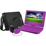 "Ematic EPD909 Portable DVD Player - 9"" Display - 640 x 234 - Purple - DVD-R, CD-R - JPEG - DVD Video, Video CD, MPEG-4 - CD-DA, MP3 - 1 x Headphone Port(s) - Lithium Polymer (Li-Polymer) - 2 Hour"