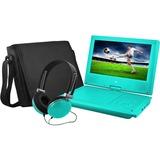 "Ematic EPD909 Portable DVD Player - 9"" Display - 640 x 234 - Teal - DVD-R, CD-R - JPEG - DVD Video, Video CD, MPEG-4 - CD-DA, MP3 - 1 x Headphone Port(s) - Lithium Polymer (Li-Polymer) - 2 Hour"
