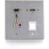 C2G RapidRun Optical VGA + 3.5mm + 3RCA + HDMI + 1KS Wall Plate Aluminum - 2-gang - Aluminum - 1 x HDMI Port(s) - 1 x Mini-phone Port(s) - 3 x RCA Port(s) - 1 x VGA Port(s)