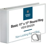 """Business Source Tabloid-size Round Ring Reference Binder - 3"""" Binder Capacity - Tabloid - 11"""" x 17"""" Sheet Size - Round Ring Fastener(s) - White - Recycled - 1 Each"""