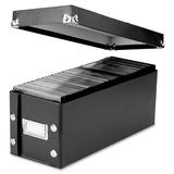 "Snap-N-Store CD Storage Box - External Dimensions: 5.8"" Width x 1.5"" Depth x 24.3"" Height - 165 x CD - Heavy Duty - Fiberboard, Metal, Chrome - Black - For CD/DVD - 1 Each"