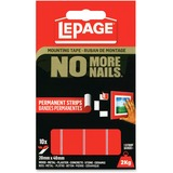 "LePage No More Nails Mounting Tape Permanent Strips - 0.79"" (20 mm) Width x 1.57"" (40 mm) Length - Permanent Adhesive Backing - 10 / Pack - Red"